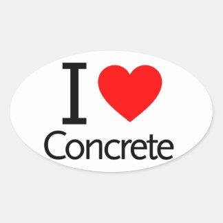 I Love Concrete Oval Sticker