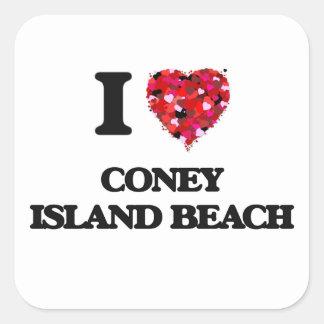 I love Coney Island Beach New York Square Sticker