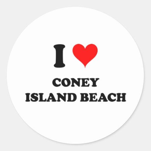 I Love Coney Island Beach Stickers