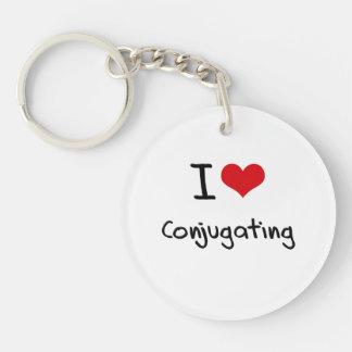 I love Conjugating Single-Sided Round Acrylic Key Ring