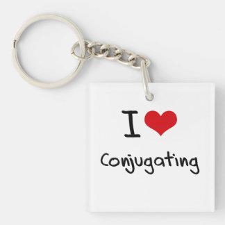 I love Conjugating Double-Sided Square Acrylic Key Ring
