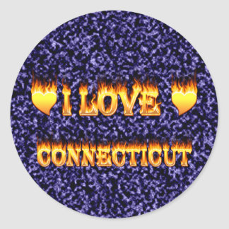 I love connecticut fire and flames round sticker