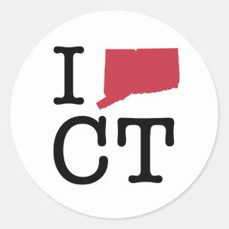I Love Connecticut Round Sticker