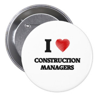 I love Construction Managers (Heart made from word 7.5 Cm Round Badge