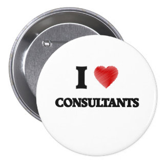 I love Consultants (Heart made from words) 7.5 Cm Round Badge