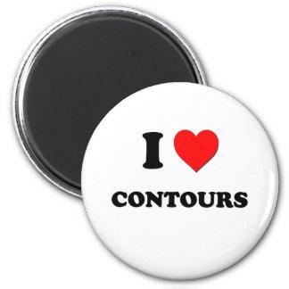 I love Contours 6 Cm Round Magnet