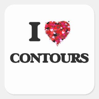 I love Contours Square Sticker