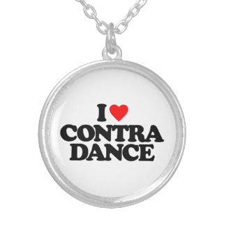 I LOVE CONTRA DANCE SILVER PLATED NECKLACE