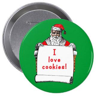 I Love Cookies Santa Claus 10 Cm Round Badge