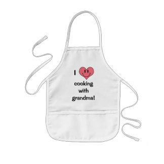 I Love Cooking with Grandma! Cute Heart Smilie Kids Apron