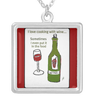 """""""I LOVE COOKING WITH WINE"""" RED WINE PRINT SQUARE PENDANT NECKLACE"""