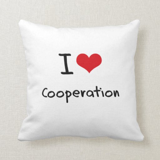 I love Cooperation Throw Pillows