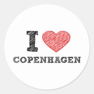 I love Copenhagen Classic Round Sticker