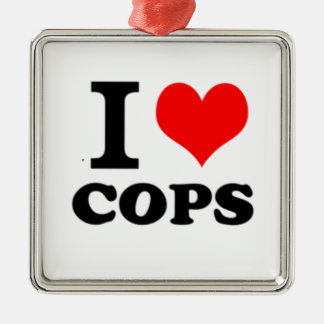 I Love Cops Silver-Colored Square Decoration