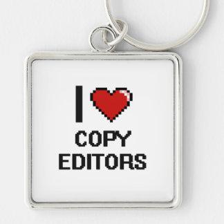 I love Copy Editors Silver-Colored Square Key Ring