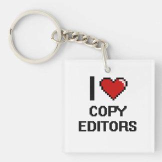 I love Copy Editors Single-Sided Square Acrylic Keychain