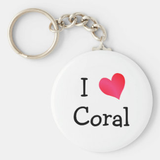 I Love Coral Basic Round Button Key Ring