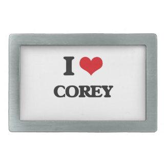 I Love Corey Rectangular Belt Buckle