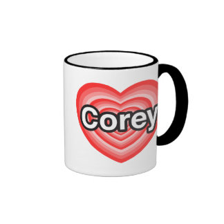 I love Corey. I love you Corey. Heart Coffee Mugs