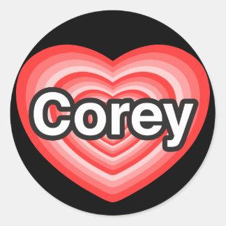 I love Corey. I love you Corey. Heart Round Sticker