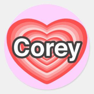 I love Corey. I love you Corey. Heart Round Stickers