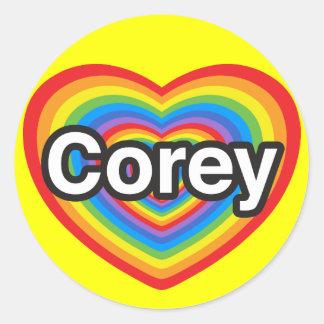 I love Corey. I love you Corey. Heart Classic Round Sticker