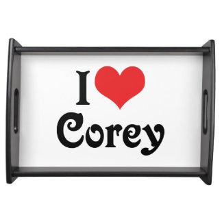 I Love Corey Serving Tray