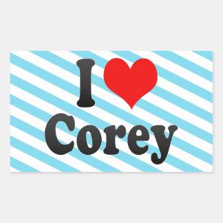 I love Corey Rectangular Sticker