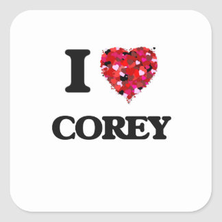 I Love Corey Square Sticker