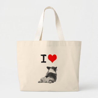 I love Corgi Butts Large Tote Bag