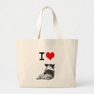 I love Corgi Butts Large Tote Bag