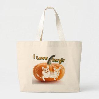 I Love Corgis-OC & D Pumpkin Jumbo Tote Bag