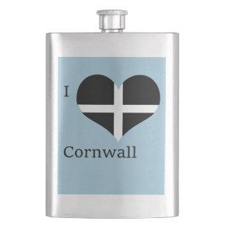 I Love Cornwall Kernow St Piran Flag Heart Design Flask