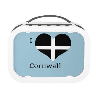 I Love Cornwall Kernow St Piran Flag Heart Design Lunchbox