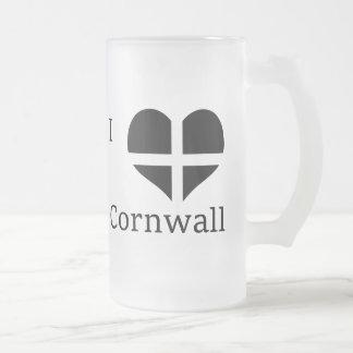 I Love Cornwall Kernow St Piran Flag Heart Design Frosted Glass Mug