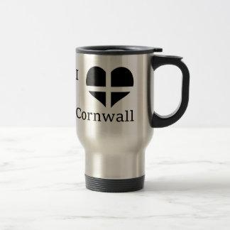 I Love Cornwall Kernow St Piran Flag Heart Design Stainless Steel Travel Mug