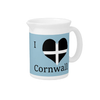 I Love Cornwall Kernow St Piran Flag Heart Design Beverage Pitcher