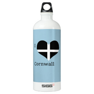 I Love Cornwall Kernow St Piran Flag Heart Design SIGG Traveller 1.0L Water Bottle