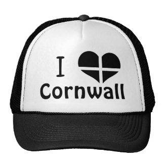 I Love Cornwall St Piran Flag Heart Design Cap