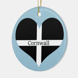 I Love Cornwall St Piran Flag Heart Design Round Ceramic Decoration