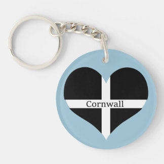 I Love Cornwall St Piran Flag Heart Design Key Ring