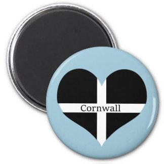 I Love Cornwall St Piran Flag Heart Design 6 Cm Round Magnet