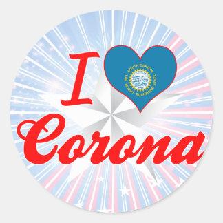 I Love Corona, South Dakota Round Sticker