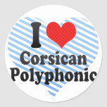 I Love Corsican+Polyphonic Round Stickers