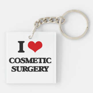 I love Cosmetic Surgery Square Acrylic Key Chain