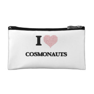 I love Cosmonauts (Heart made from words) Cosmetics Bags