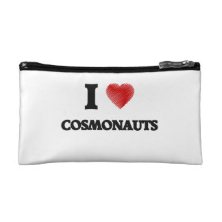 I love Cosmonauts (Heart made from words) Makeup Bags