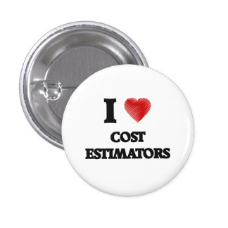 I love Cost Estimators (Heart made from words) 3 Cm Round Badge