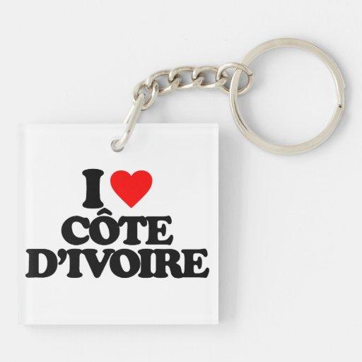 I LOVE CÔTE D'IVOIRE SQUARE ACRYLIC KEY CHAIN