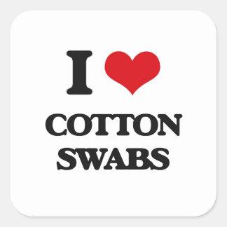 I love Cotton Swabs Square Sticker